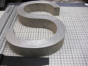 Cast Aluminum Metal Letter S Blocked Font 8 inch Long 3/4 thick