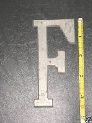 Foundry pattern letter F aluminum 4 1/2 inch 1/8 thick