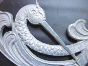 Vintage Tsuru japanese crane good fortune metal art